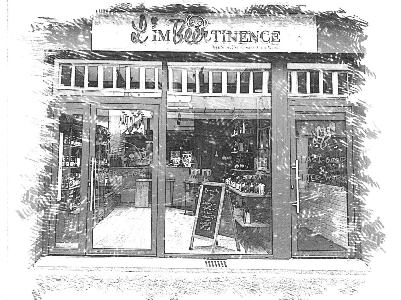 Dessin de la façade de l'Imbeertinence rue de Paris à Lens